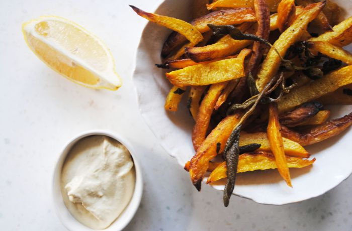 Baked Pumpkin Fries with Roasted Sage